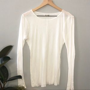 Free People White Long Sleeve Ribbed Top Size M